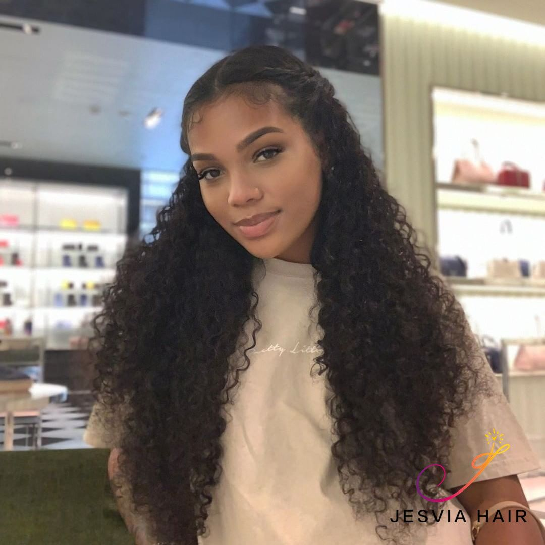 Jesvia Hair Lace Front Human Hair Wigs Pre Plucked With Baby Hair Brazilian Deep Wave Lwd22 Curly Hair Braids Curly Hair Styles Beautiful Curly Hair