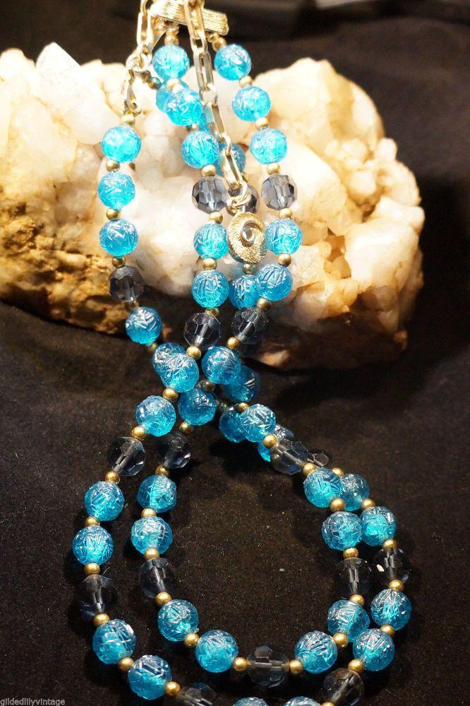 Lisner Necklace Blue Flower Beads & Crystal Choker Designer Vintage Jewelry #Lisner #StrandString