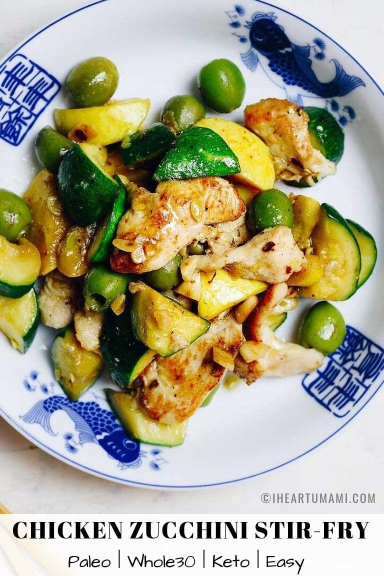 Easy Chicken Zucchini Stir Fry With Green Olives Recipe Whole Food Recipes Recipes Chicken Zucchini