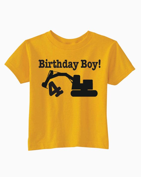 Birthday Construction T Shirt Excavator Party Ideas Shirts For Boys And Girls Unique Gifts