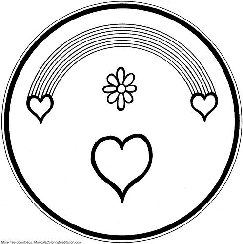Printable Children Coloring Page Rainbow Heart Mandala Mandala