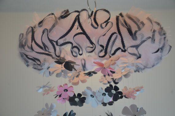 Damask Flower Mobile Pink White Black Nursery Decor by Sastara, $44.00