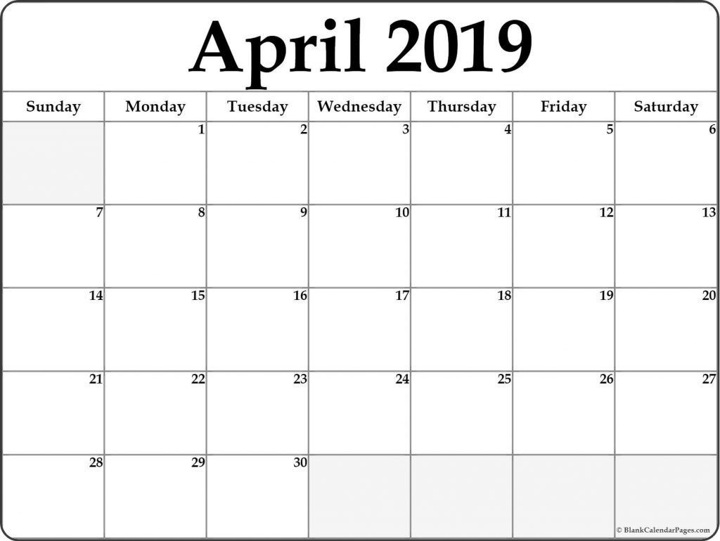 April 2019 Calendar Template Word Document Printable Blank