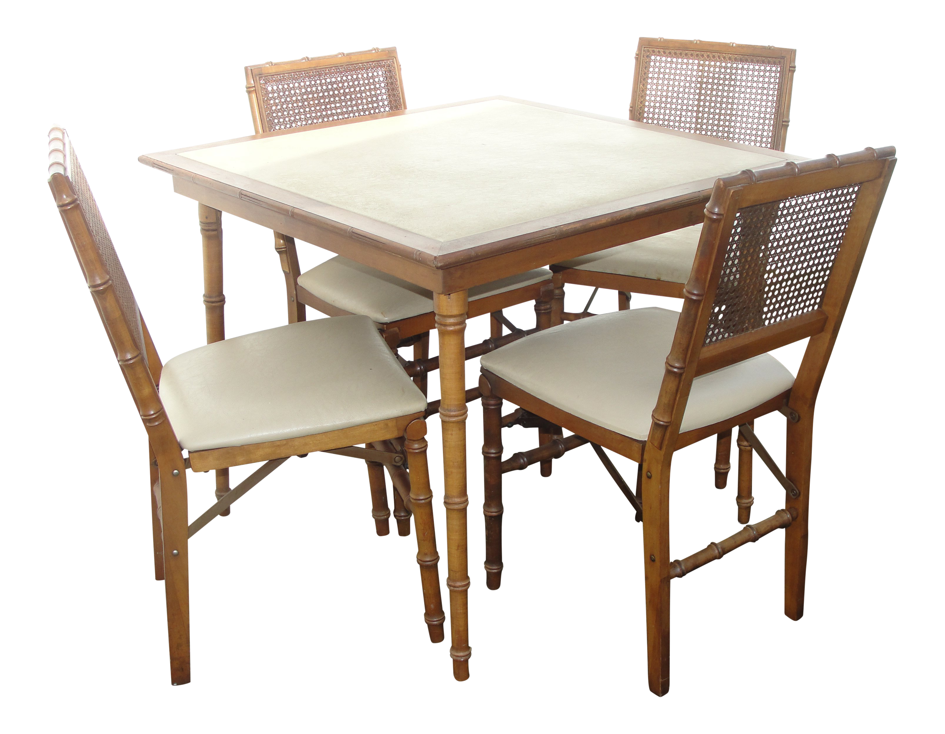 Stakmore Furniture Faux Bamboo Folding Card Table & Chairs on