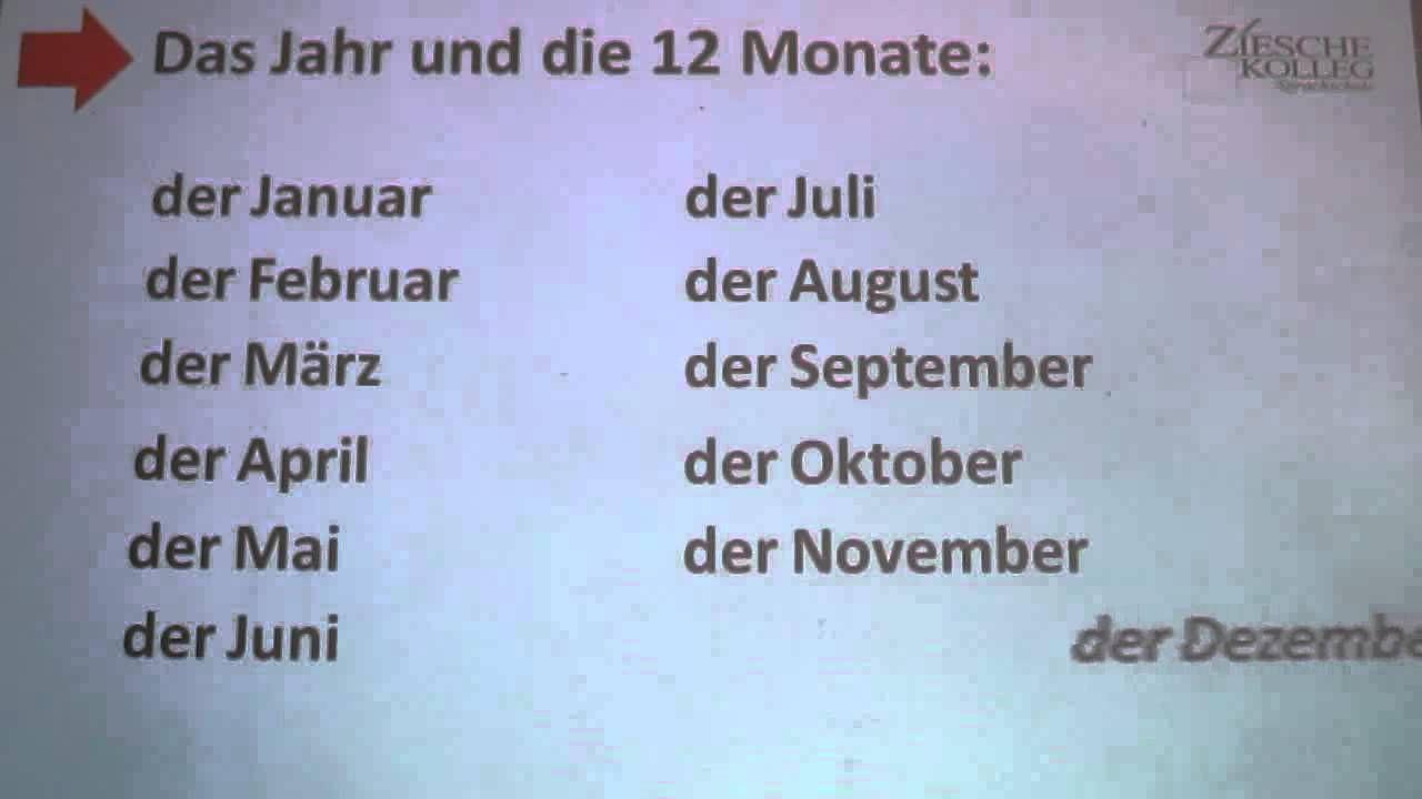 Deutsch lernen A1 - die zwölf (12) Monate des Jahres | NÉMET ...