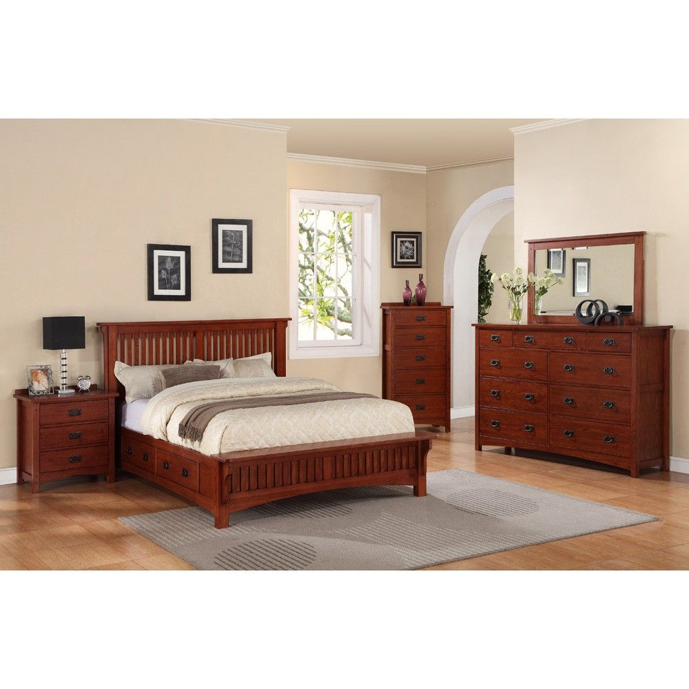 Mission wood platform storage bed in mission oak bedroom furniture
