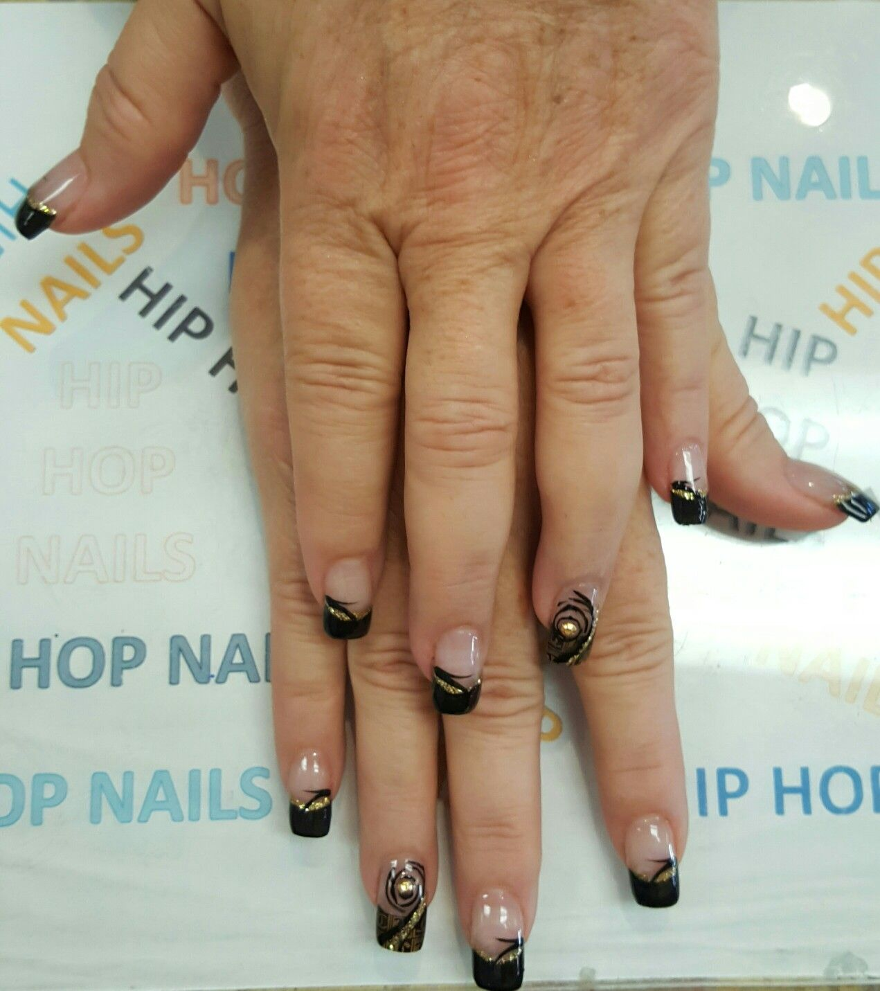 Black And Gold Nails Design By Hip Hop Nails Pinterest