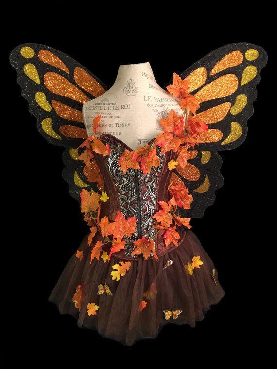 Herbst Fee Kostum Enthalt Flugel Korsett Und Rock Rock Hat