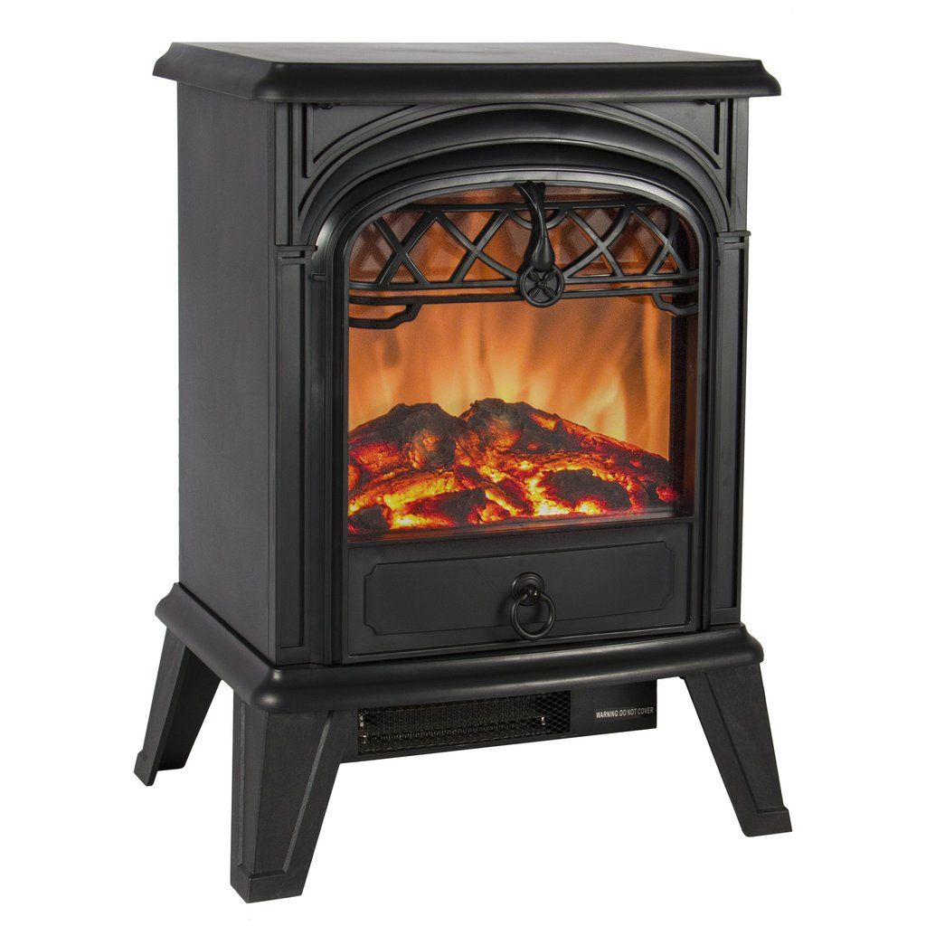 W Free Standing Electric Fireplace Heater Fire Stove Flame Wood