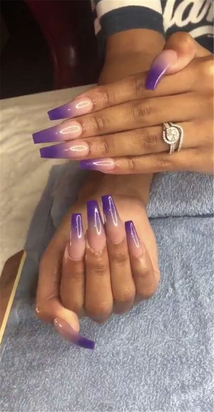 The Most Beautiful Ombre Acrylic Nails Designs You Ll Like Baby Boomer Coffin Nails Ombre Nails Acryl In 2020 Ombre Acrylic Nails Purple Nails Acrylic Nail Designs