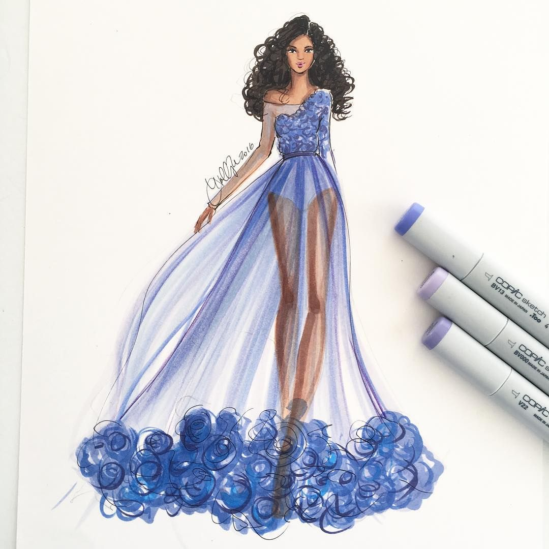A Violet Morning Sketched With Copicmarker Fashionsketch