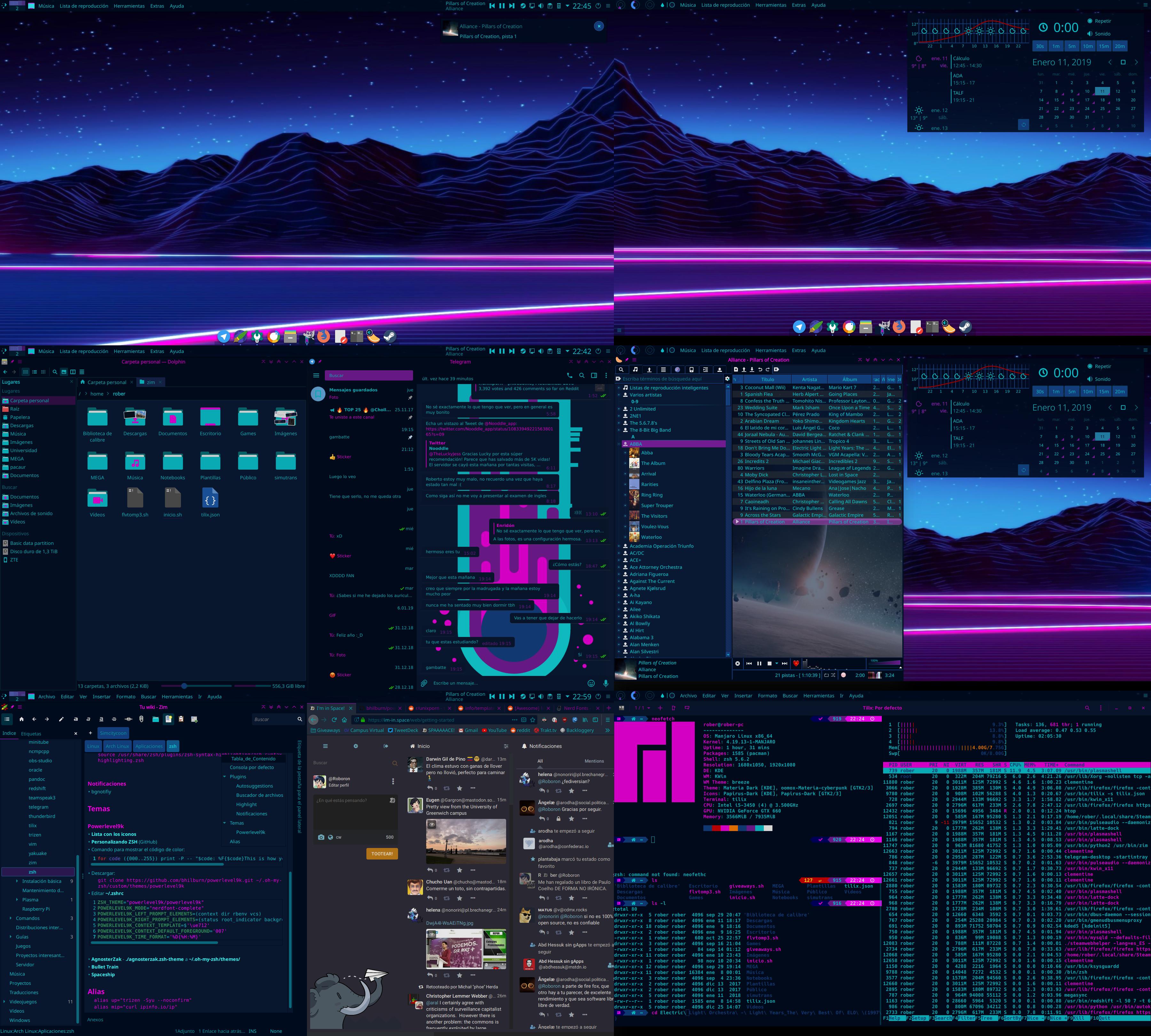 KDE Plasma Cyberpunk Neon theme | Linux in 2019 | Cyberpunk