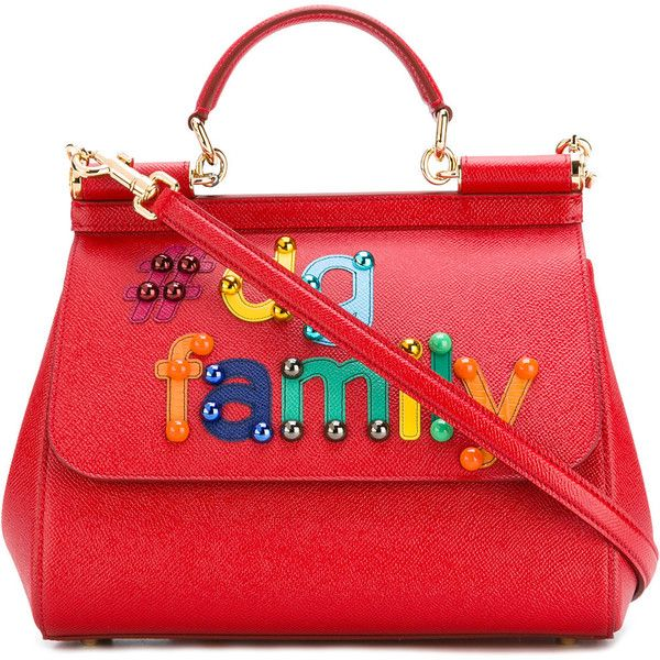 Dolce & Gabbana #DG family patch Sicily tote (5.030 BRL) ❤ liked on Polyvore featuring bags, handbags, tote bags, red, red handbags, dolce gabbana tote, colorful handbags, handbags totes and dolce gabbana purses