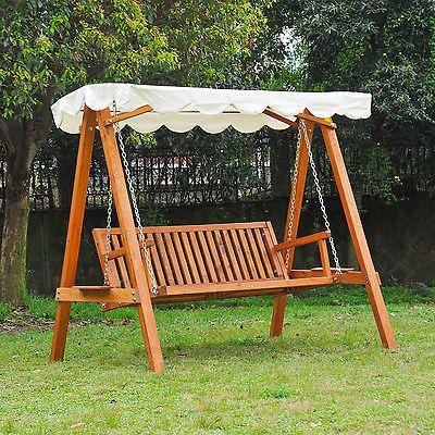 Outsunny Swing Chair 3 Seater Swinging Wooden Hammock Garden Seat