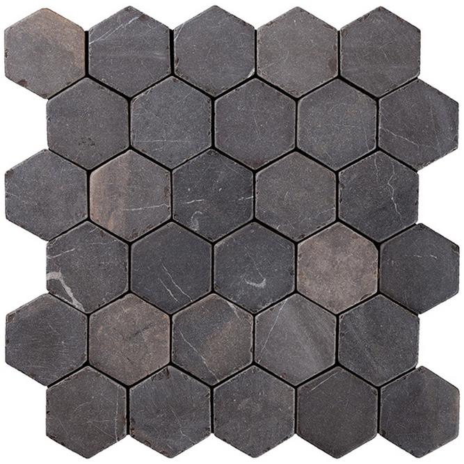 Bathroom Wall Aer: Konradsson's Indostone Hexagon Greyblack 6x6cm
