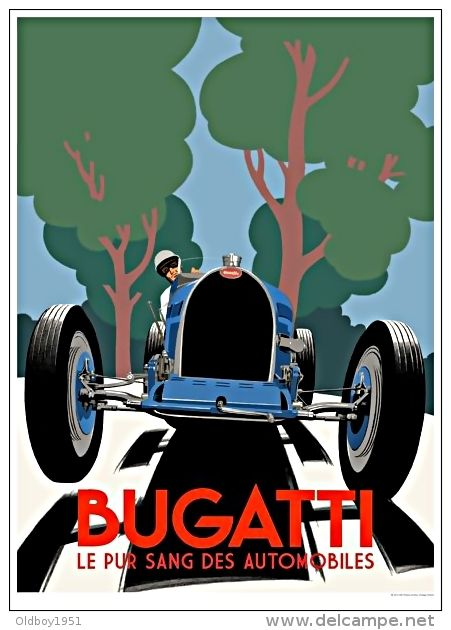 vieille affiche publicitaire bugatti le pur sang des automobiles reproduction a4. Black Bedroom Furniture Sets. Home Design Ideas