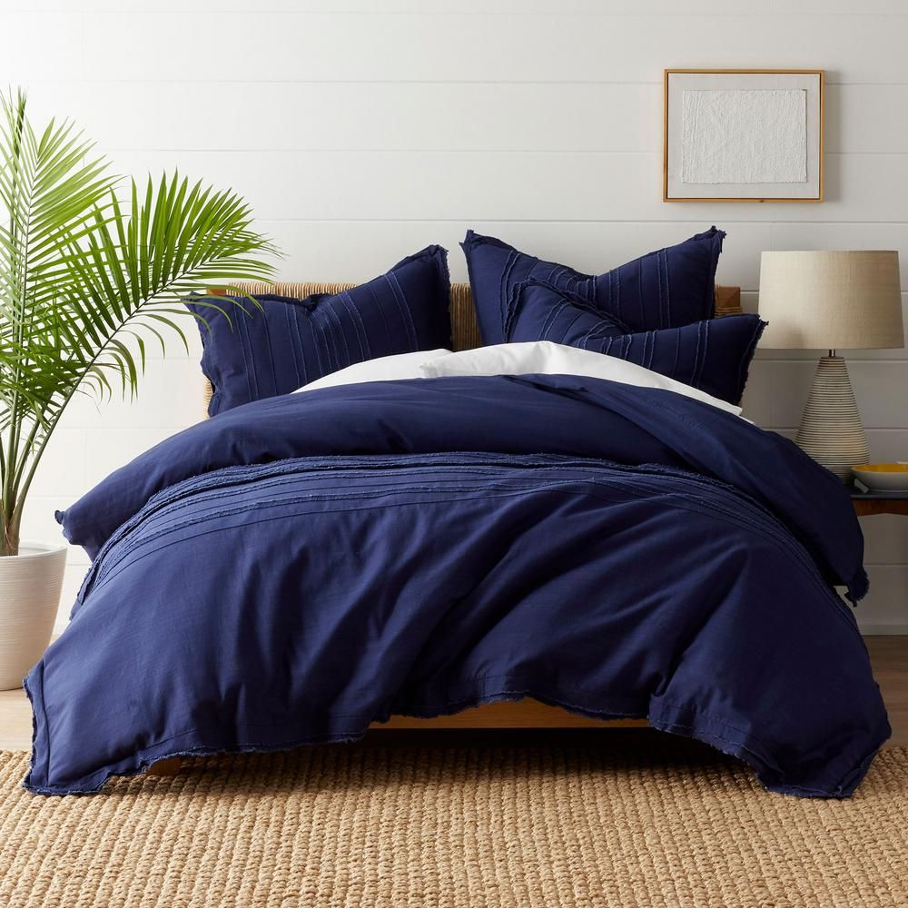 The Company Store Beachcomber Navy Striped Cotton Full Duvet Cover Blue In 2020 Navy Duvet Covers Full Duvet Cover Navy Duvet
