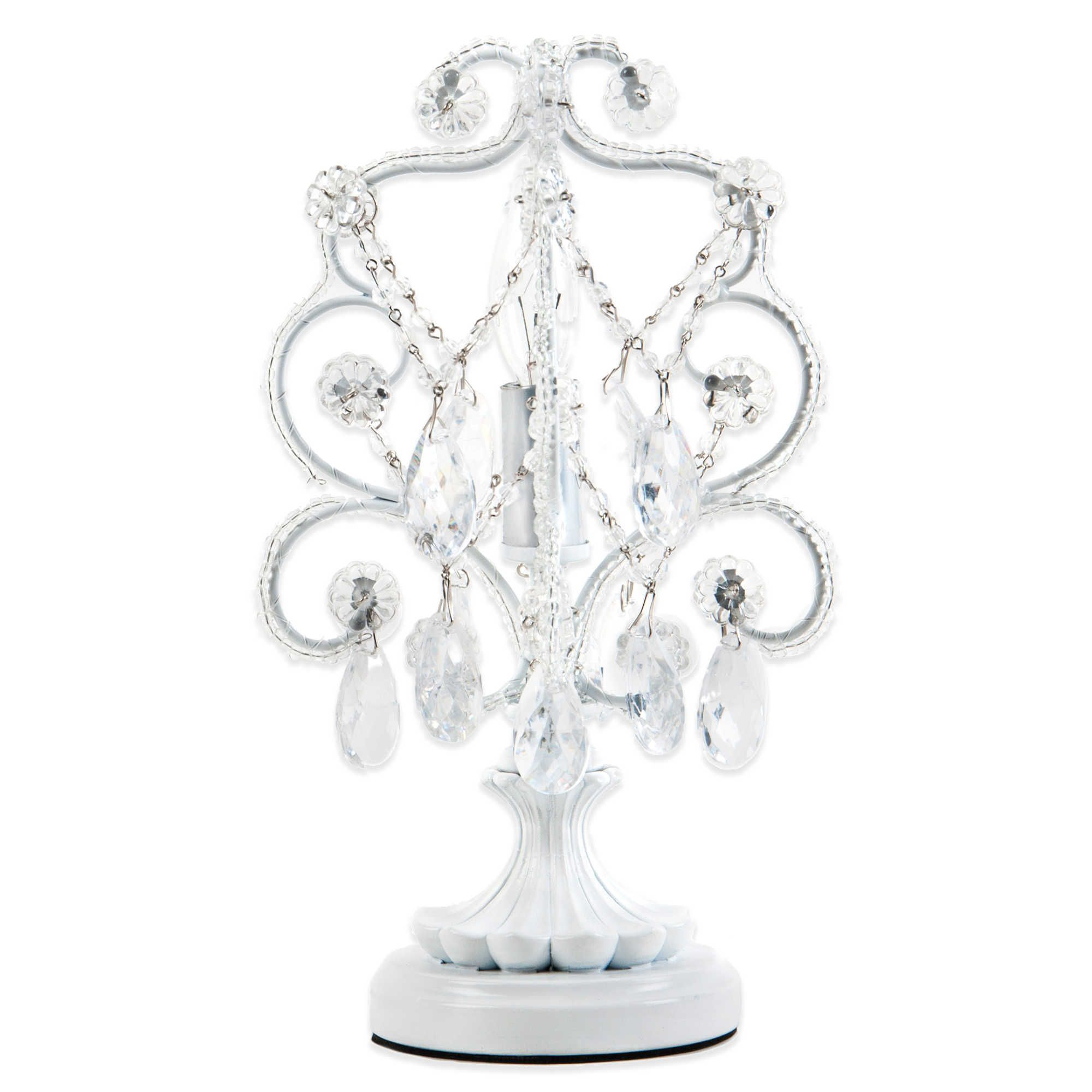 Tadpoles By Sleeping Partners Mini Chandelier Table Lamp In White Diamond