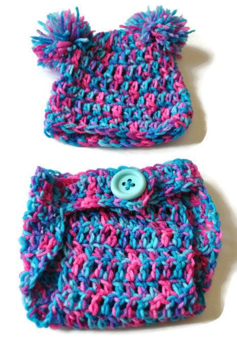 Crochet Baby Hat, Baby Girl Hat, Hat and Diaper Cover, Coming Home Outfit, Baby Photo Prop, Infant Girl Set, Pink and Blue, Baby Shower Gift on Etsy, $11.00