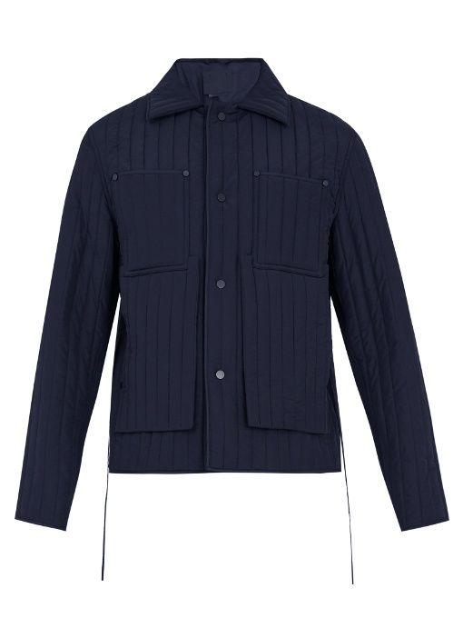Craig Green Quilted Point Collar Tie Waist Jacket In Navy Modesens Waist Jacket Wool Jacket Jackets