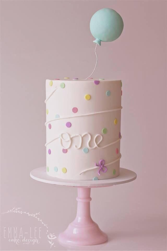 Awe Inspiring First Birthday Cake With Balloon Topper Emma Lee Cake Design Personalised Birthday Cards Veneteletsinfo