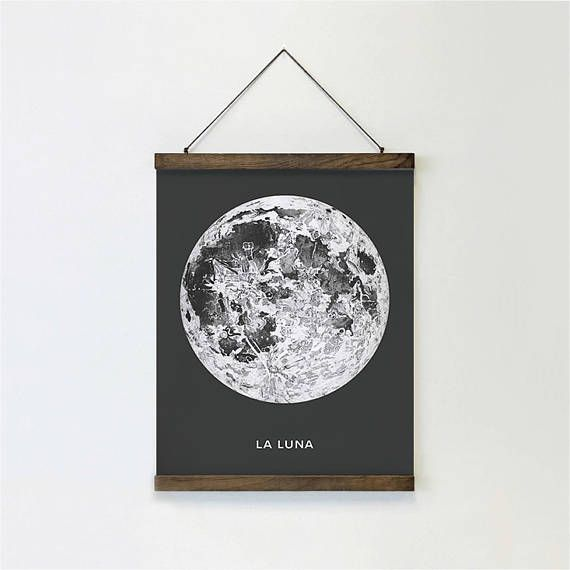 Full Moon Giclee Canvas Print With Magnetic Solid Oak