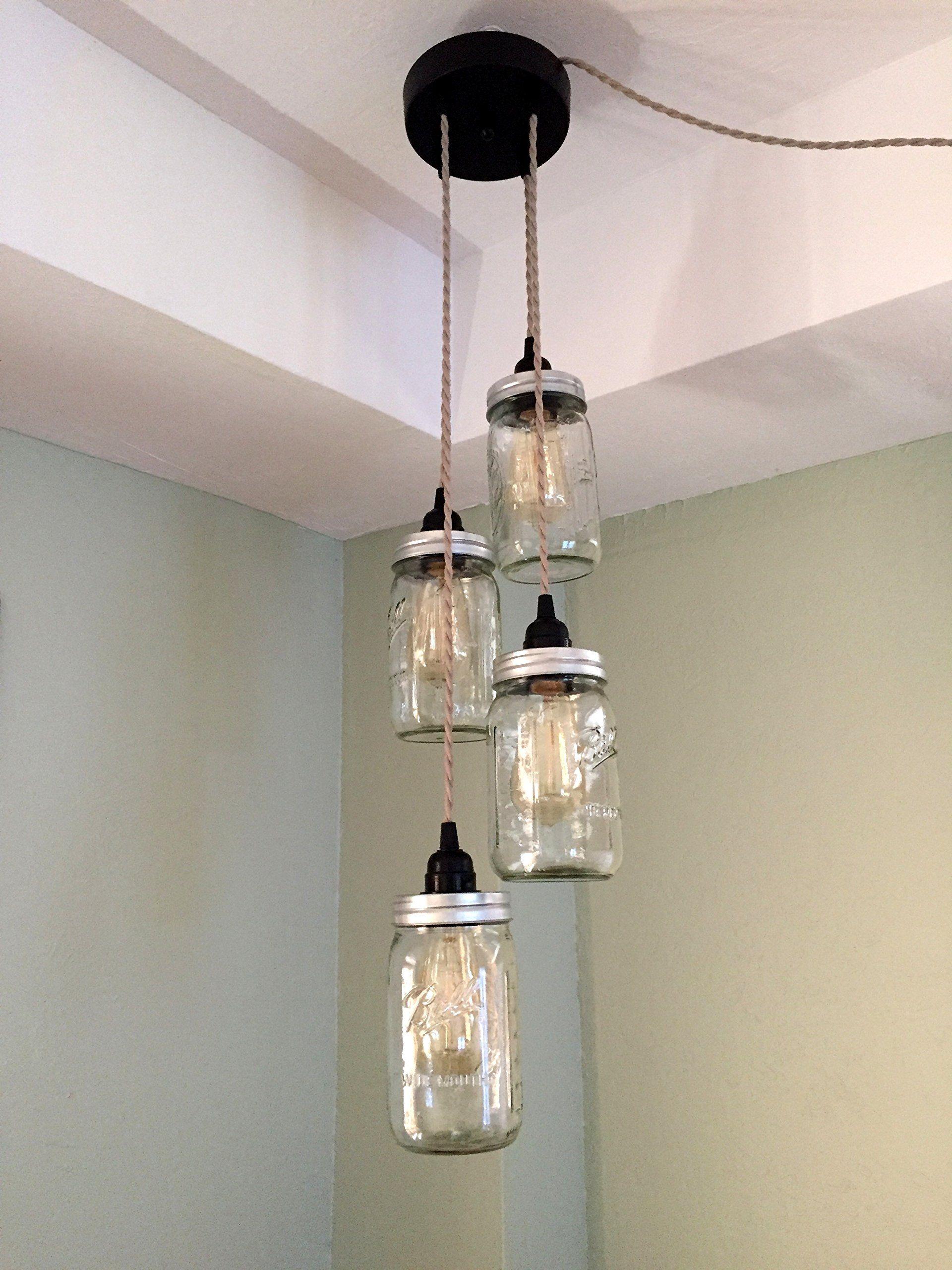 Mason jar chandelier swag light no hard wiring just hang it up