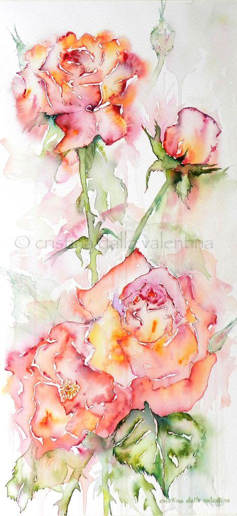 A blob of color cristina dalla valentina art dipinti di for Immagini di fiori dipinti