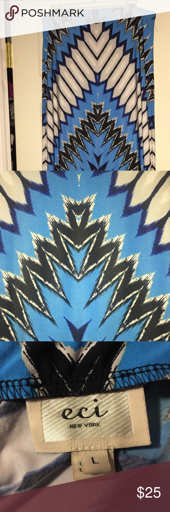 Maxi skirt Abstract print blue, white, gray, and black maxi skirt. Great easy fabric. Hardly wrinkles. Wear it anywhere. ECI Skirts Maxi
