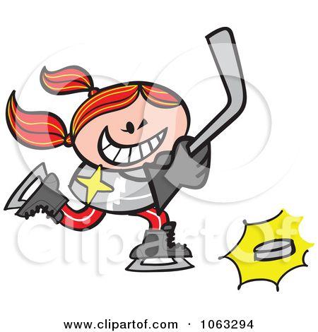 Clipart Hockey Player Girl Royalty Free Vector Illustration By Zooco Free Vector Illustration Hockey Hockey Players