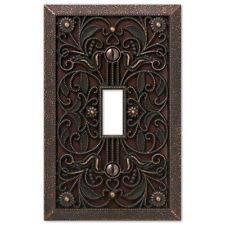 arabesque filigree aged bronze switchplate outlet cover wall plates switch plate - Decorative Outlet Covers