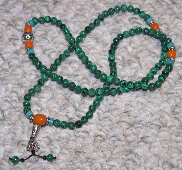 Malachite Mini Mala Necklace or Bracelet - Compassion and Protection