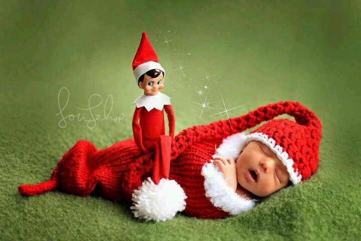 Adorable Newborn Picture For Xmas With The Elf On A Shelf