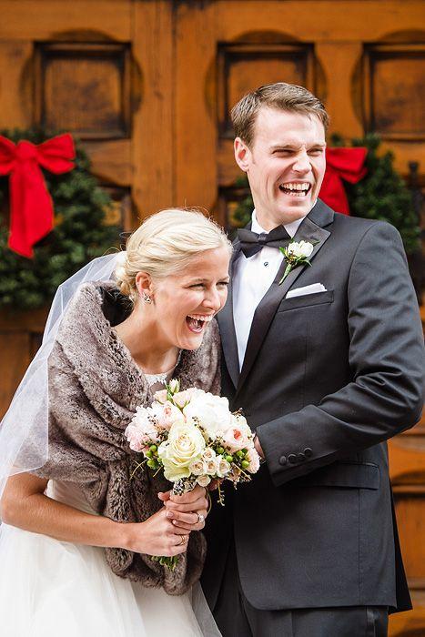 A Cly Wedding Bride In Gray Fur Wrap Shawl And Groom Black Tie