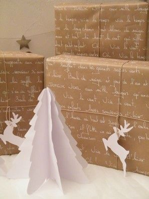 ✂ That's a Wrap ✂ diy ideas for gift packaging and wrapped presents - White script and paper cut reindeer and christmas trees