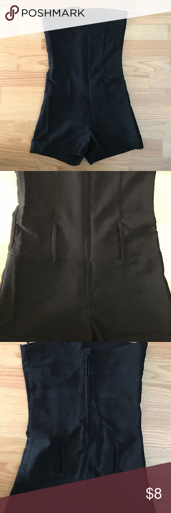 Black Romper Great condition. Black romper with belt loops (no belt included) with a zipper back. 69% polyester, 28% rayon, 3% spandex. Great for going out on the town with flats, boots, or heels! No stains, flaws, tears. Smoke free home Other