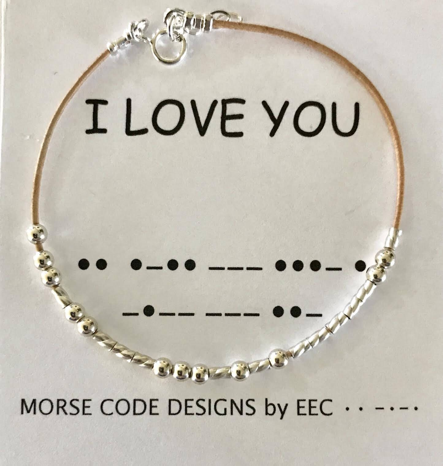 I Love You Morse Code Bracelet Leather Morse Code Bracelet Etsy Morse Code Bracelet Diy Jewelry For Beginners Jewelry Diy Bracelets