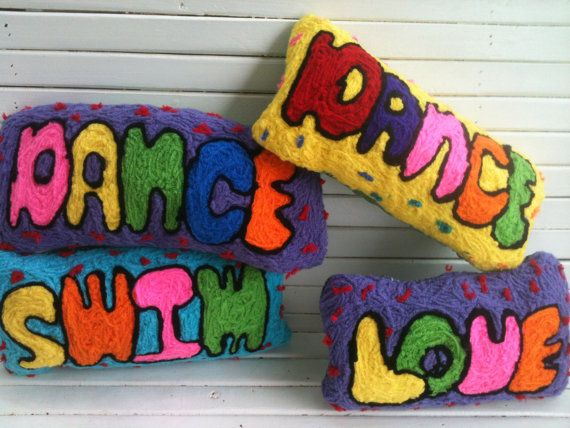 Spell It Out Word Pillows by MavisS on Etsy, $32.00