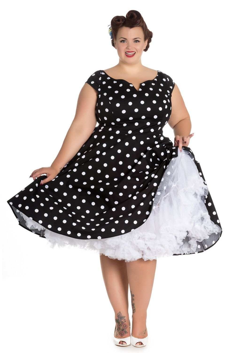 2aa0479cf4efd Hell Bunny Plus 50's Retro Mod Black White Polka Dot Flare Party Dress
