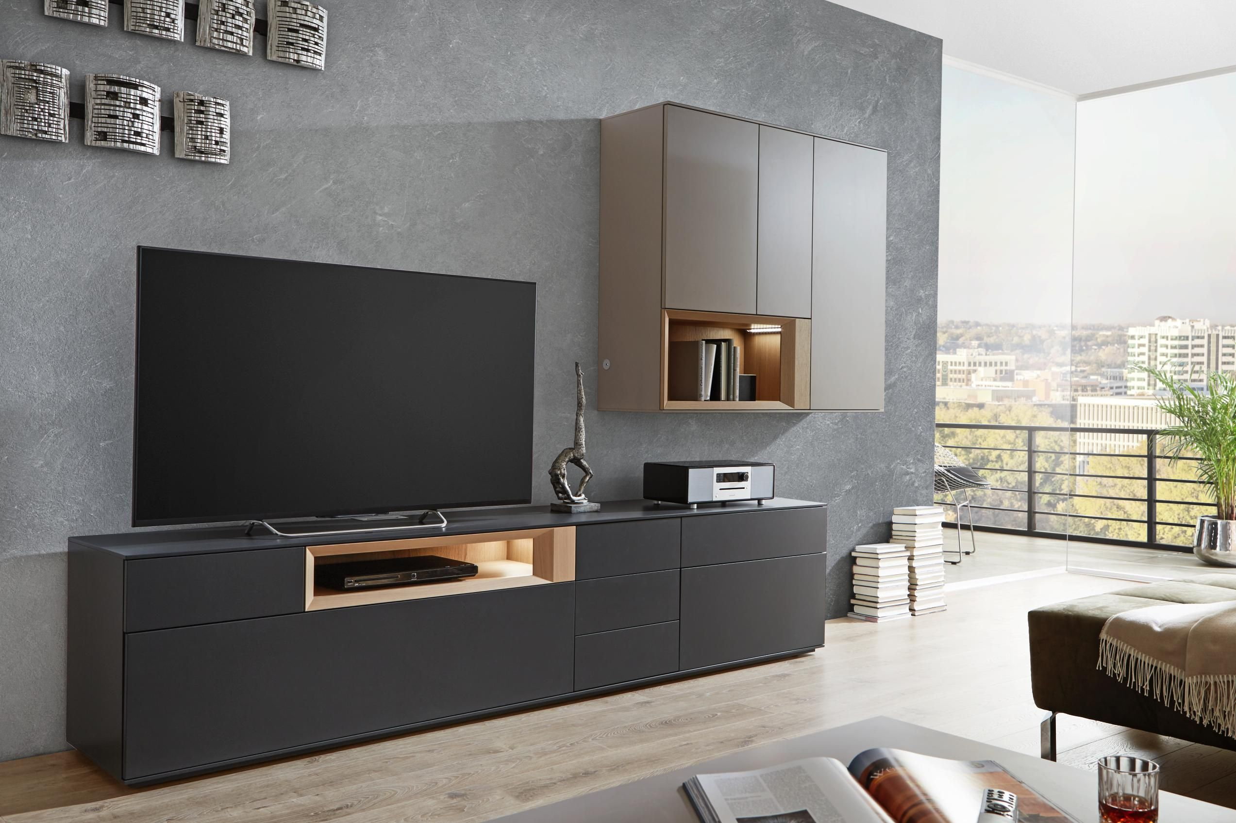 wohnwand in anthrazit eichefarben grau wohnw nde. Black Bedroom Furniture Sets. Home Design Ideas
