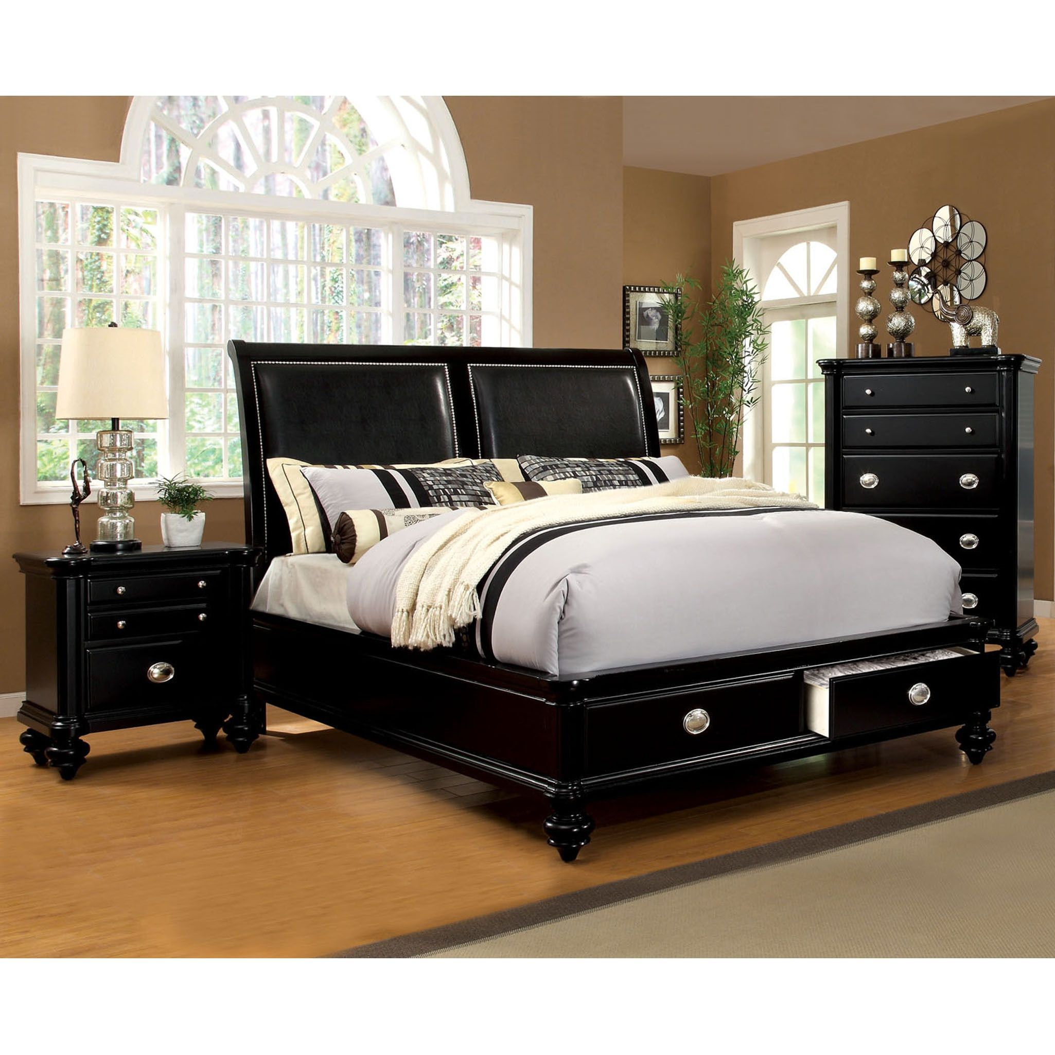 Furniture of america modern platform bed with drawers queen grey