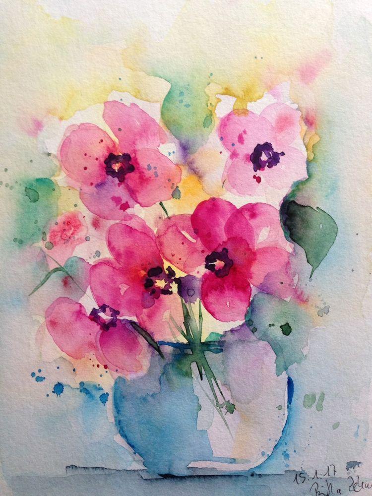 Aquarell Blumenstrauss Blumen Natur Kunst Bild 17 X 24