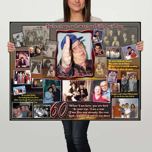 60th Birthday Gift Ideas For Dad Present Father Turning 30 40 50 60 70 Years Old Men Photo Collage Who Has Everything