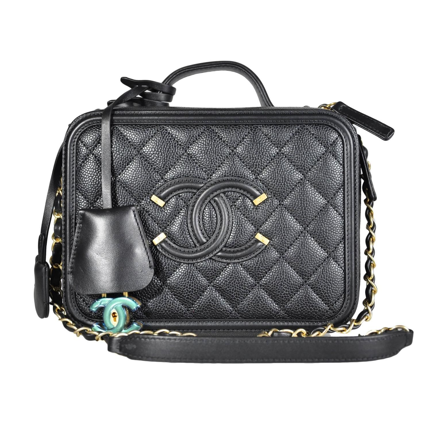 74e9d5671388 Chanel 2016 Black Leather Re-invented Vanity Case New
