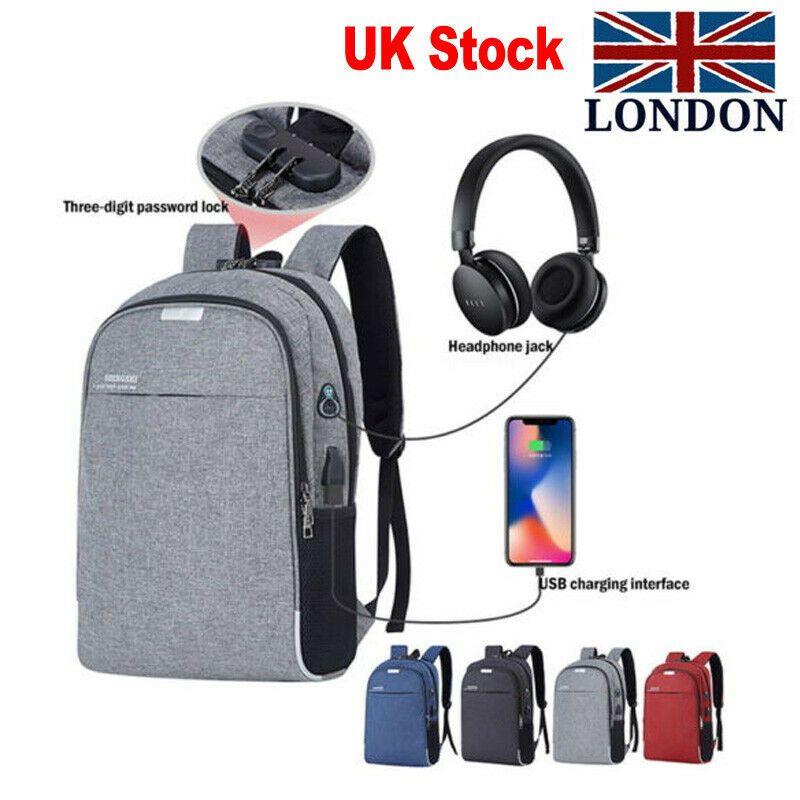 theft Lock USB Port Waterproof Laptop School Travel Bag Men Women Anti