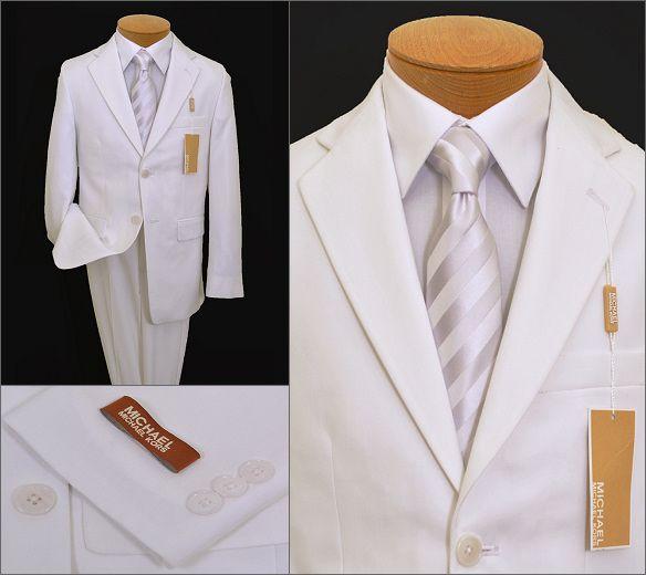 New Boys Children Formal Tuxedo Communion Baptism Church Suit White sz 8-20