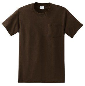 Port & Company Cotton Short-Sleeve T-Shirt with Pocket (PC61P) Available in 16 Colors Large Brown.
