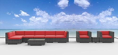 Shop for UrbanFurnishing.net 10c-Manado-coralred-b 10 Piece Modern Patio Furniture Sofa Sectional Couch Set online - Toocutefashion