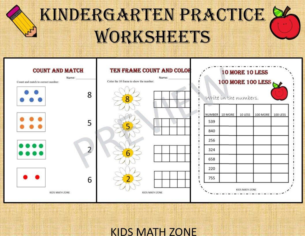 hight resolution of Kindergarten Practice Package 50 Math Worksheets for   Etsy   Kids math  worksheets