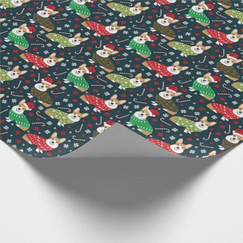 corgi xmas sweaters wrapping paper